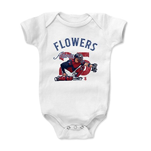 500 LEVEL Tyler Flowers Baby Onesie 6-12 Months White - Atlanta Baseball Baby Clothes - Tyler Flowers Arch B (Flowers Tyler)