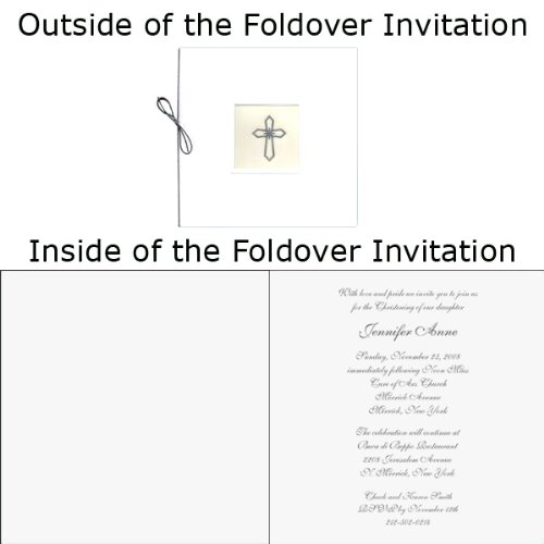 (Silver Cross With Vellum Baptism Christening Invitations - Set of 20)