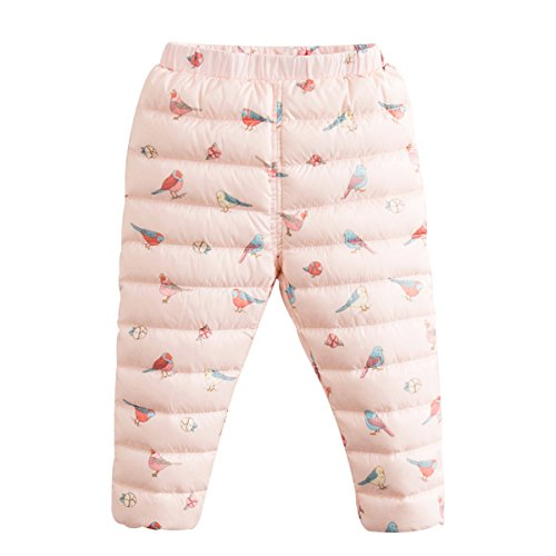 marc janie Boys Girls' Light Weight Down Compact Pants Packable Puffer Snow Trousers, 16+ Colors 3 Years Birds and Floral