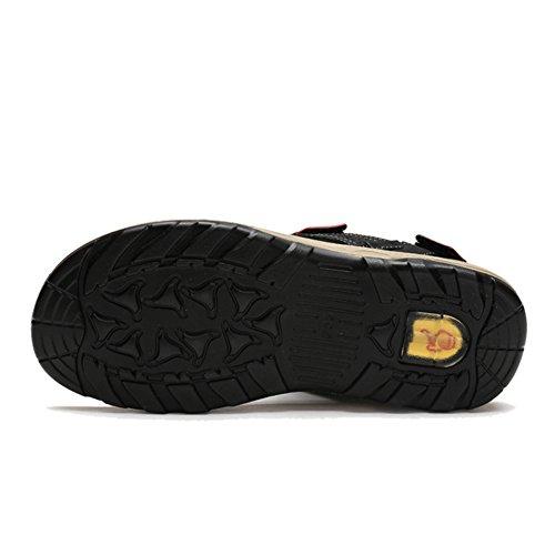 Agowoo Femmes Crochet Et Boucle Sandales De Randonnée Plage Noir