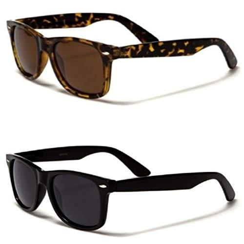 Retro Rewind Classic Polarized Wayfarer Sunglasses 2-Pack Black & ()