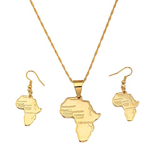 Set Jewelry 24k Gold (24K Gold Plated African Map Pendant Necklace Jewelry for Women (Gold Pendant Necklace Earring Set))