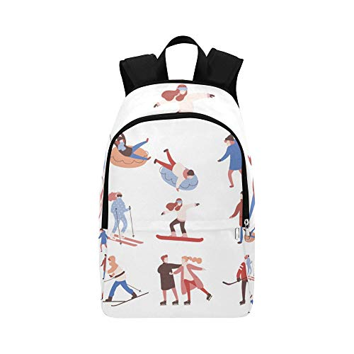 Skiers and Snowboarders Cartoon Casual Daypack Travel Bag College School Backpack for Mens and Women