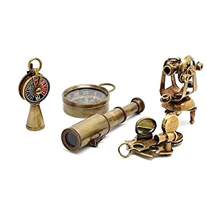 Roorkee Instruments India Nautical Gift Set-Miniature Telescope,Theodolite,Telegraph,Sextant,Compass/Accessorize a Steampunk Outfit