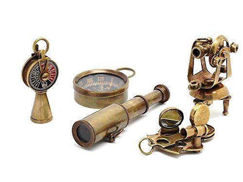 Nautical Gift Set-Miniature Telescope,Theodolite,Telegraph,Sextant,Compass/Accessorize a Steampunk Outfit 3