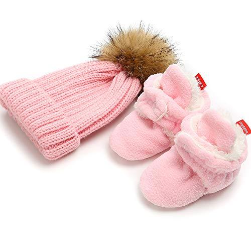 Isbasic Unisex Baby Cozy Fleece Lined Booties Non-Slip Infant Winter Warm Socks Shoes + Knit Pom Pom Hat (12-18 Months Pink) (Hat Knit Wear)
