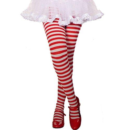 MUSIC LEGS Children Girls Stripe Tights, White/Red, Small -