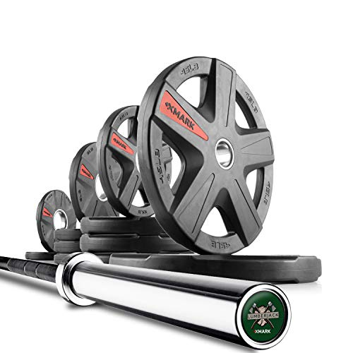 XMark Lumberjack 7' Olympic Bar, Chrome with Black Manganese Phosphate Shaft, 28 mm Grip and 155 lb. XMark Texas Star Olympic Plate Weight - Weighted Barbell Set