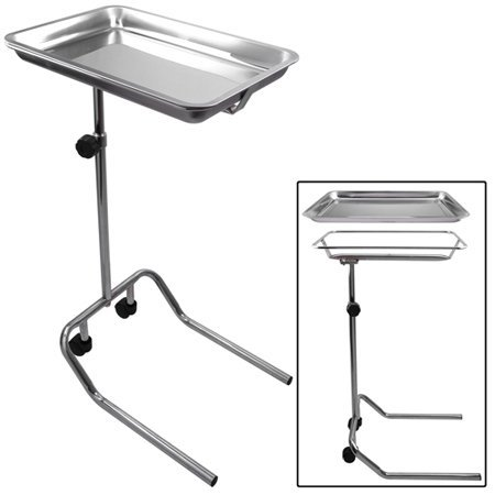 31 7/8 - 46 Inches Adjustable Height Mayo Instrument Stand FDA Standards w/ Removable Stainless Steel Tray Single Post for Professional Home Medical Supplies Personal Care Patient