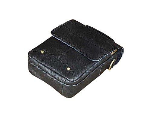 Genda 2Archer Männer kleine Crossbody Tasche jeden Tag Handtasche Leder Schwarz
