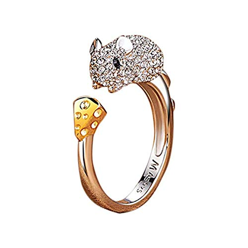 Windoson Elegant 2019 Zodiac Tiger Crystal Open Rings Wedding Christmas Jewelry for Women Girls-It Can Be Adjustable (Mouse) ()