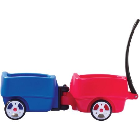 Step2 Choo Choo Wagons for Toddlers - Children Durable Two Ride On Cars Trailers with Storage and Seat Belts, Multicolor