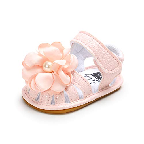 Baby Girls Summer Sandals Toddler Infant Cute Flowers Anti-Skid Rubber Sole First Walkers Shoes (12-18 Months Toddler, A-Pink)
