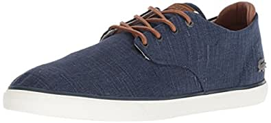 Lacoste Men's ESPARRE Sneaker, Navy tan Canvas, 13 Medium US, Blue & Brown, Size 13 US