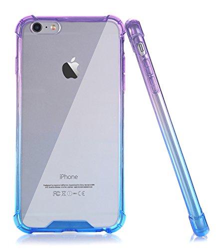 BAISRKE Clear Case for iPhone 6 6s, Shock Absorption Flexible TPU Soft Edge Bumper Anti-Scratch Rigid Slim Protective Cases Hard Plastic Back Cover for iPhone 6 6S - Blue Purple - Case Purple Plastic