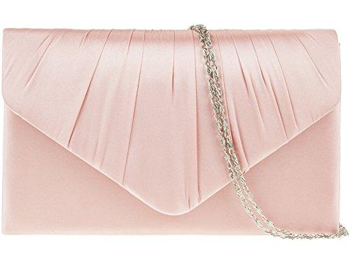 BRIDAL HAND BAG Dusky fi9® CLUTCH HANDBAG SATIN PURSE Pink EVENING LADIES PARTY PROM 1pUSIq