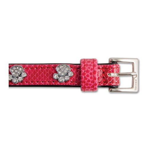 Ancol Sparkly Paw Faux Crock Leather Dog Collar, 50 cm, Cerise