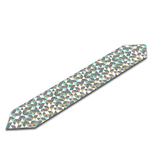 Tdsasy Gray White Teal Faux Gold Triangles Personalized Table Runner Soft Floral Embroidery for Home Wedding Party Decoration 13'' -