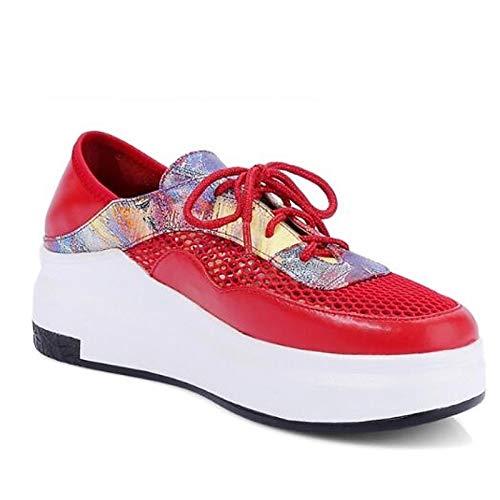 pelle Closed Bianco Primavera Estate Toe Nappa Comfort Sneakers Creepers Rosso donna ZHZNVX in da Red Scarpe TFxXPX