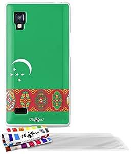 """Carcasa Flexible Ultra-Slim LG L9 de exclusivo motivo [Turkmenistan Bandera] [Blanca] de MUZZANO  + 3 Pelliculas de Pantalla """"UltraClear"""" + ESTILETE y PAÑO MUZZANO REGALADOS - La Protección Antigolpes ULTIMA, ELEGANTE Y DURADERA para su LG L9"""