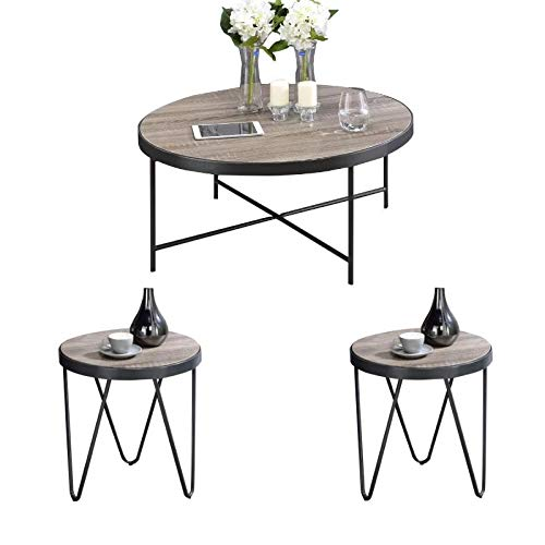 Acme Furniture Bage 3 Piece Modern Coffee Table and End Table Set in Weathered Gray Oak