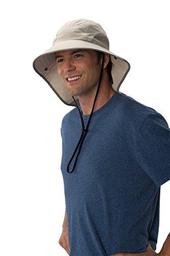 Sun Protection Zone Unisex Lightweight Adjustable Outdoor Floppy Sun Hat (100 SPF, UPF 50+) - Khaki with Olive Trim