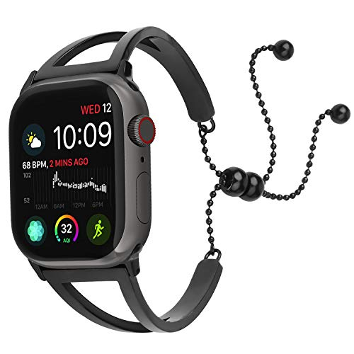 EzBand Bling Bands Compatible Apple Watch Band 38mm40mm 42mm44mm, 2019 Fancy Jewelry Bangle Cuff Adjustable Stainless Steel iWacth Bands Womens Series 4 3 2 1 Nike+/Sport Pendant Tassel