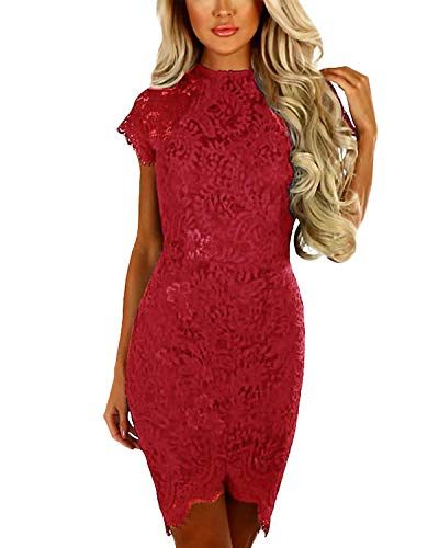 YOINS Women Dress Sexy Bodycon Crochet Lace Wrap Front Long Sleeves Mini Dress Wine red XS