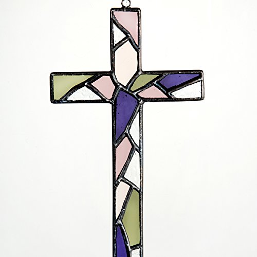 Stained Glass Mosaic Cross Ornament Purple, Moss Green