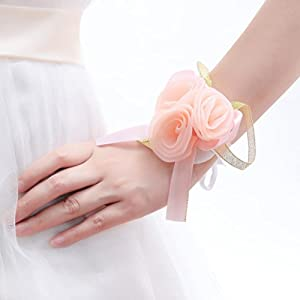 One One Bridal® Wedding Bridal Women Girl Bridesmaid Exquisite Floral Hand Wrist Flower (T1218-Champagne) 2