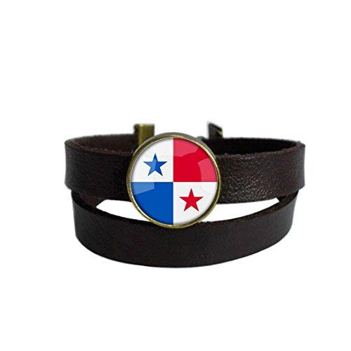 LooPoP Vintage Punk Dark Brown Leather Bracelet The Republic Of Panama National Flag Belt Wrap Cuff Bangle Adjustable by LooPoP