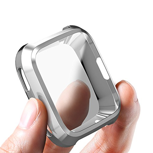 SIRUIBO Compatible Fitbit Versa Case, TPU Plated Screen Protector Rugged Cover All-Around Protective Bumper Shell Compatible Fitbit Versa Smartwatch, Silver
