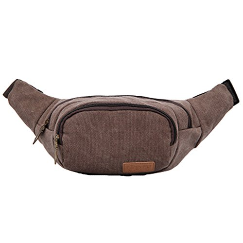 GSPStyle Unisex lona pecho Bolsa Hombre Riñonera Bolsa de deporte bolsa de hombro Crossbody Marrón - marrón