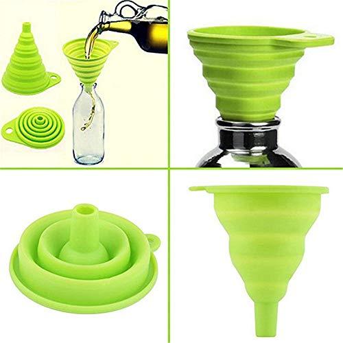 Maikouhai Telescopic Funnel, Kitchen Home Mini Food Grade Folding Oil Water Vinegar Funnel for Household Liquid Dispensing Dispenser - Kitchen & Home Dispenser Tool - Green
