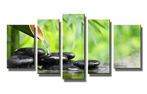... Life with Bamboo Fountain and Zen Stone in Water Painting the Picture  Print on Canvas Botanical Pictures for Home Decor Decoration Gift Piece  (Stretched ...