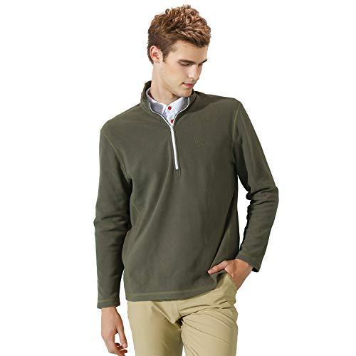 EAGEGOF Mens Long Sleeve Mock Turtleneck Fleece Shirt 1/4 Zip Pullover Casual Hoodies (Army Green, ()