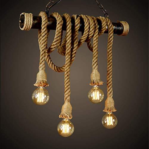 FWX Cuerda De Cáñamo Araña De Luces Industrial Lámpara Colgante Ronda Luz Colgante Vintage Lámpara De Techo Clásico Luz…