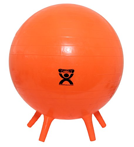 CanDo NonSlip Inflatable Exercise Ball with Stability Feet, Orange, 21.6'' by Cando