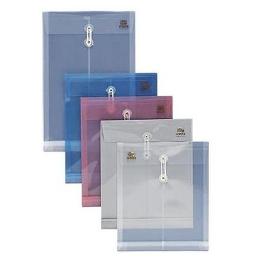 Sparco String & Button Poly Hide Envelope - Letter - 8.50 X 11 - 1 Expansion - Polypropylene - Clear - 1 Each