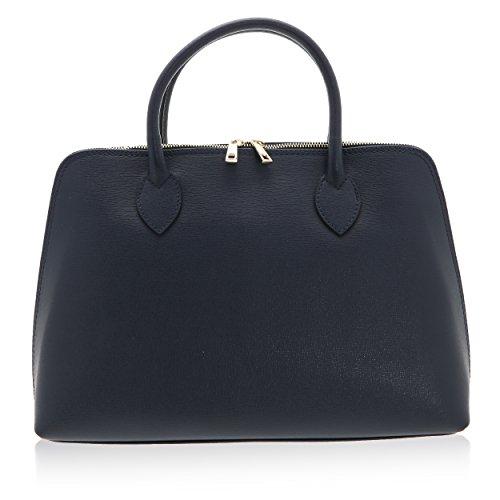 Donna Borsa 10 Handbag In Cm 38 Pelle Italy X A Vera Mano Made 28 Borse Da Blu Scuro Realizzata Chicca a5Yq8Exwq