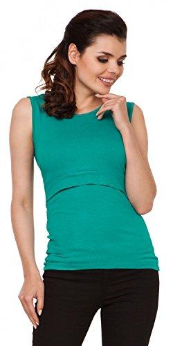 Zeta Ville - Premamá Top de lactancia a capas cuello redondo - para mujer - 997c Verde Azulado