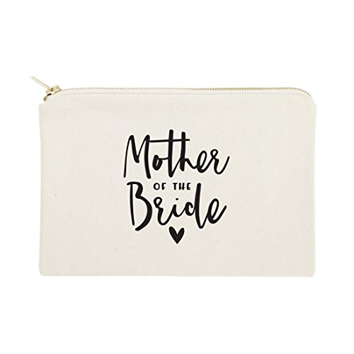 The Cotton & Canvas Co. Mother of the Bride Wedding Cosmetic Bag, Bridal Party Gift and Travel Make Up Pouch