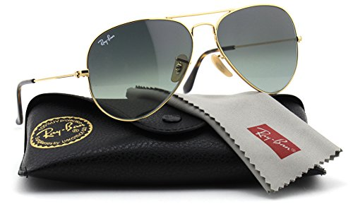 Ray-Ban RB3025 181/71 Unisex Aviator Sunglasses Gradient (Gold Frame / Grey Gradient Lens 181/71, - Large Ban Aviator 62mm Ray Sunglasses Original