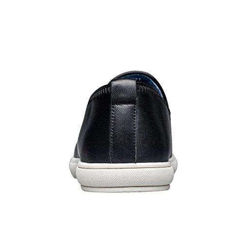Zro Mens Loisirs Slip Sur Des Chaussures En Cuir Plat Confortable Noir
