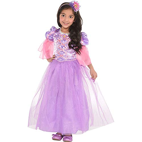 Suit Yourself Tangled Rapunzel Costume for Girls, Size Medium, Purple and Pink Dress Features Ribbon Lace Detailing