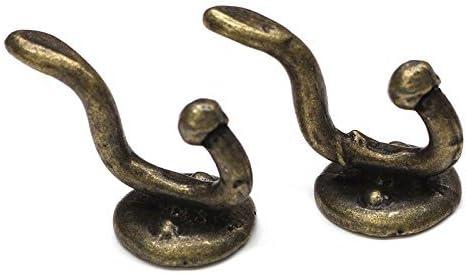 MyTinyWorld Pair Of Dolls House Miniature 1:12th Scale Antique Brass Coat Hooks