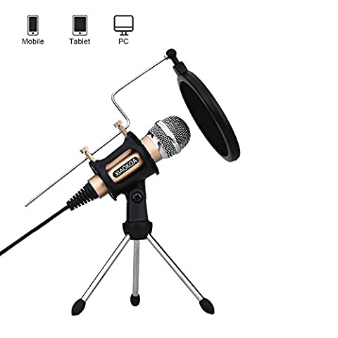 Professional Condenser Microphone, Plug &Play Home Studio microphones for Iphone Android Recording,PC,Computer,Podcasting,Mini Desktop MIC Stand dual-layer acoustic filter