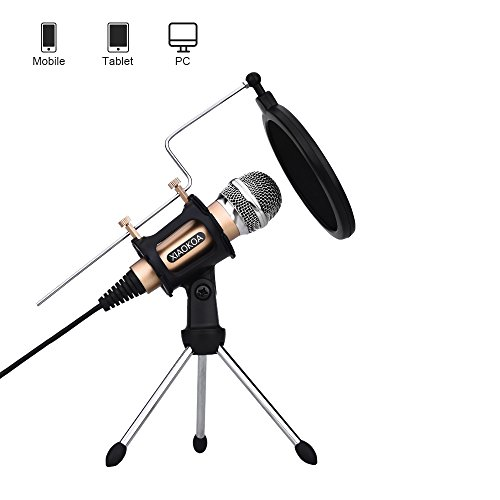 Camera Mount Stereo Condenser Microphone (Professional Condenser Microphone, Plug &Play Home Studio microphones for Iphone Android Recording, PC, Computer, Podcasting, Mini Desktop MIC Stand dual-layer acoustic filter)