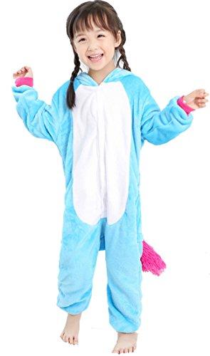 BELIFECOS Flannel Blue Children Unicorn Cosplay Costume Onesie Pajamas for Boy 105 -