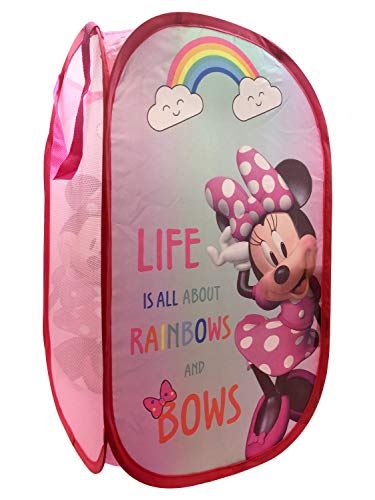 Jay Franco Disney Minnie Mouse Rainbow Bows Pop Up Hamper - Mesh Laundry Basket/Bag with Durable Handles, 22